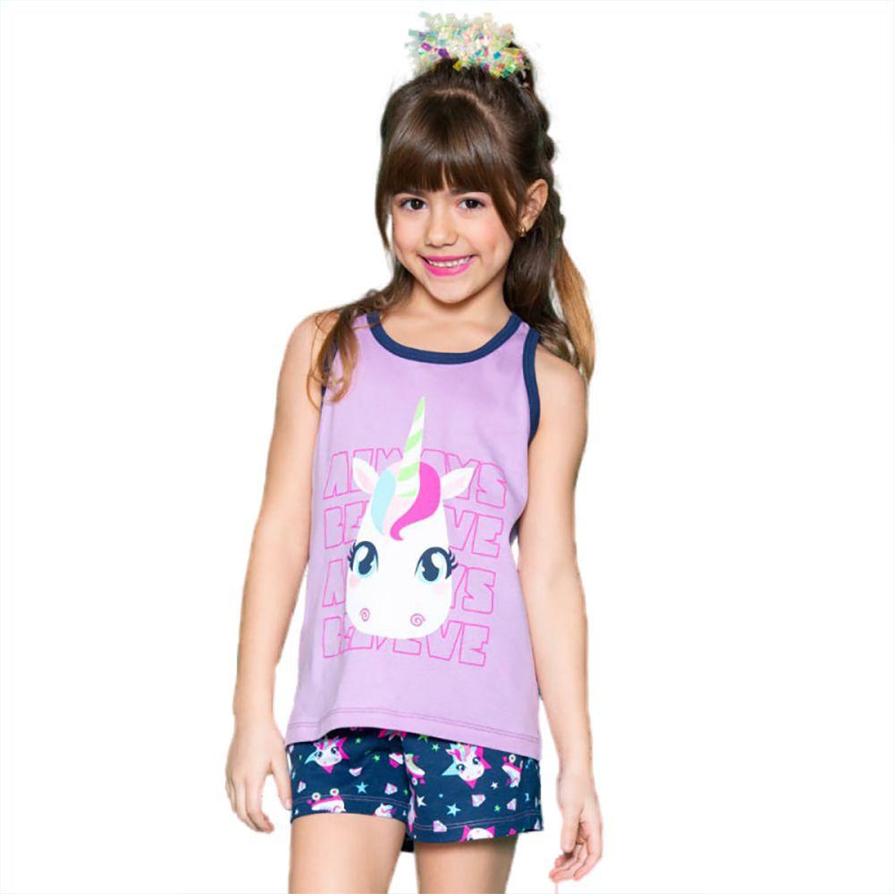 Pijama Regata Nadador e shorts Puket Unicórnio Lilás