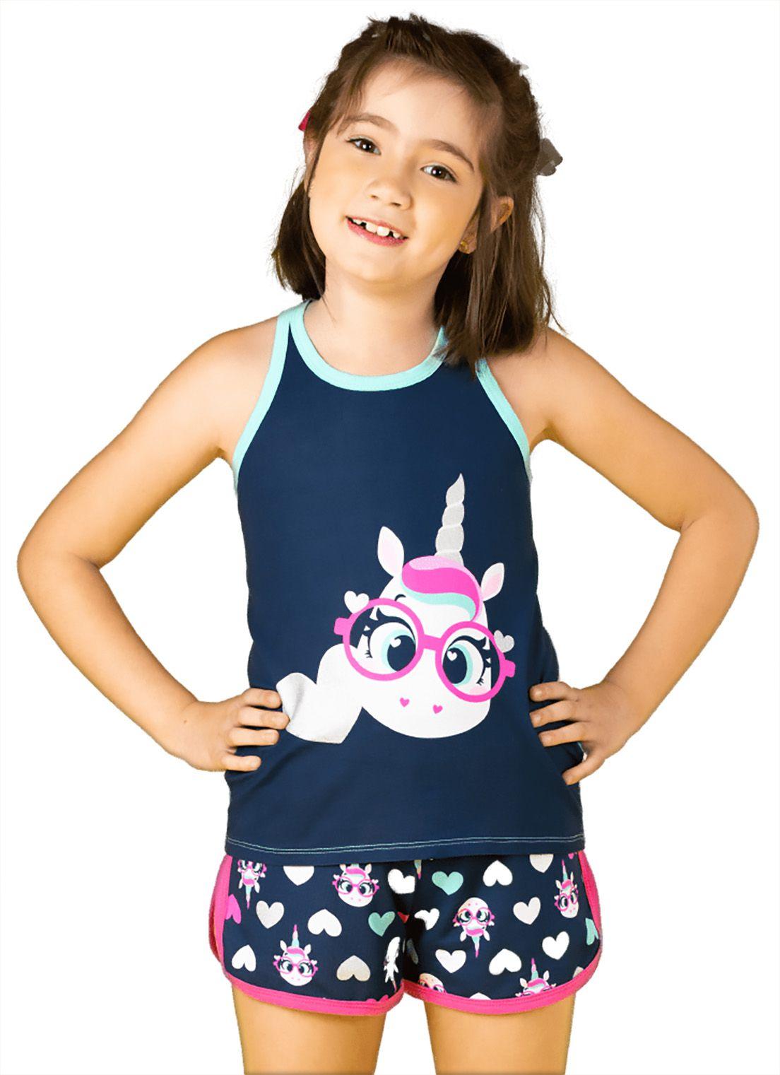 Pijama Infantil Regata Nadador e shorts Puket Visco Unicórnio Marinho
