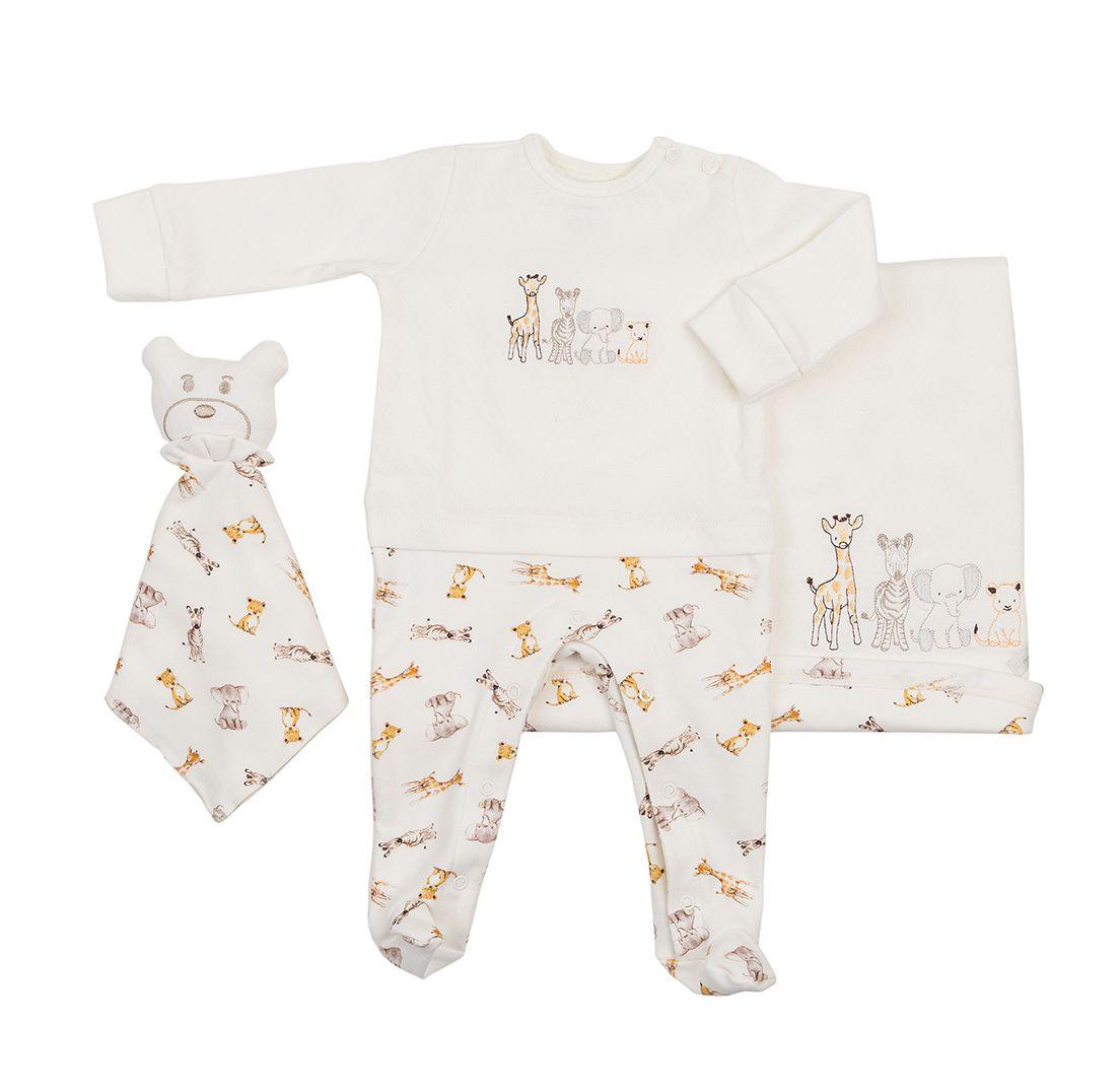 Saída Maternidade Coquelicot 3 peças Macacão Sobreposição, Manta e Naninha  Safari Off White