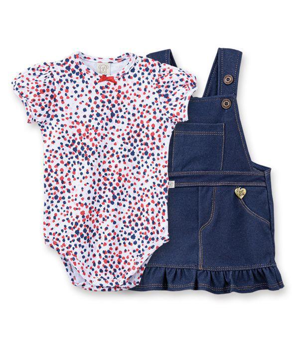 Conjunto Bebê  salopete Cotton Jeans e body  manga curta balonê Pingo Lelê Onça / Tamanho M