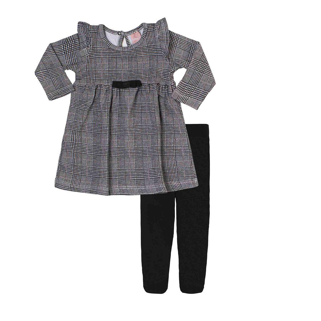 Vestido Bebê  Cotton com Meia Calça TMX  Príncipe de Gales