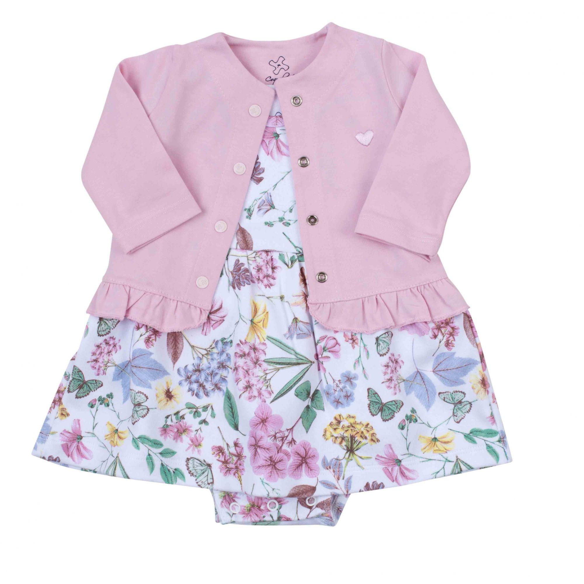 Vestido Body Coquelicot  com casaco babado Floral/Rosa 2 pçs / Tamanho 6 a 9 meses