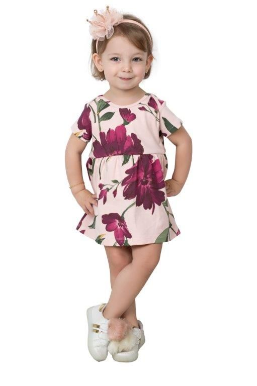 Vestido Body Coquelicot  com casaco babado Floral/Vinho 2 pçs