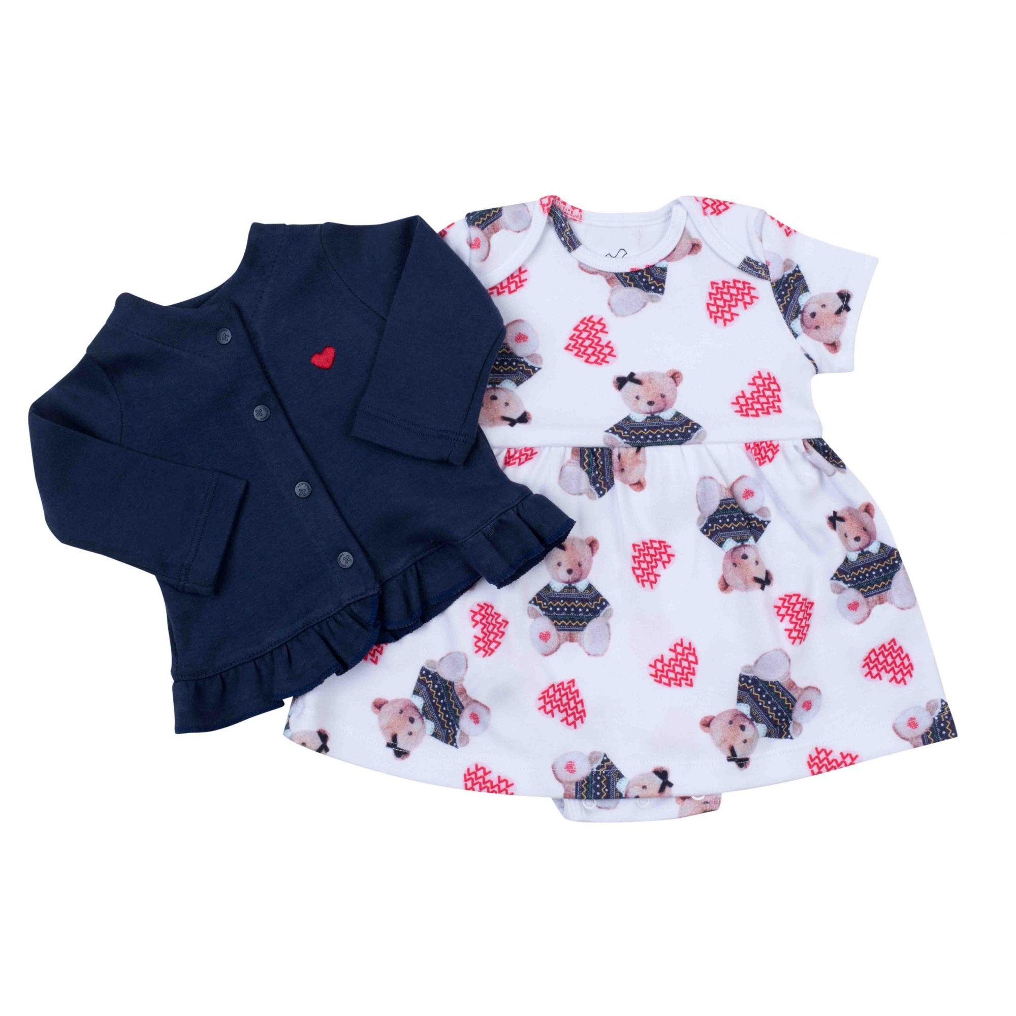 Vestido Body Infantil Coquelicot  com casaco babado Ursinha /marinho 2 pçs