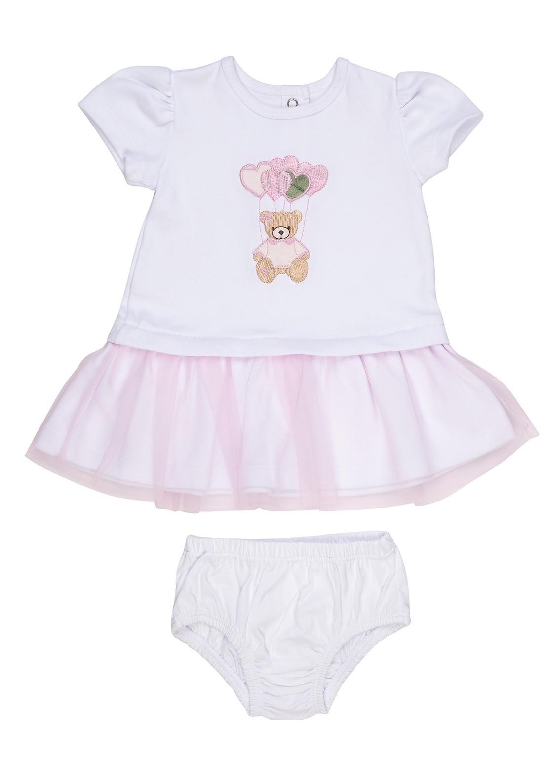 Vestido Bebê  Coquelicot  manga curta com calcinha Ursinha Branco e Rosa