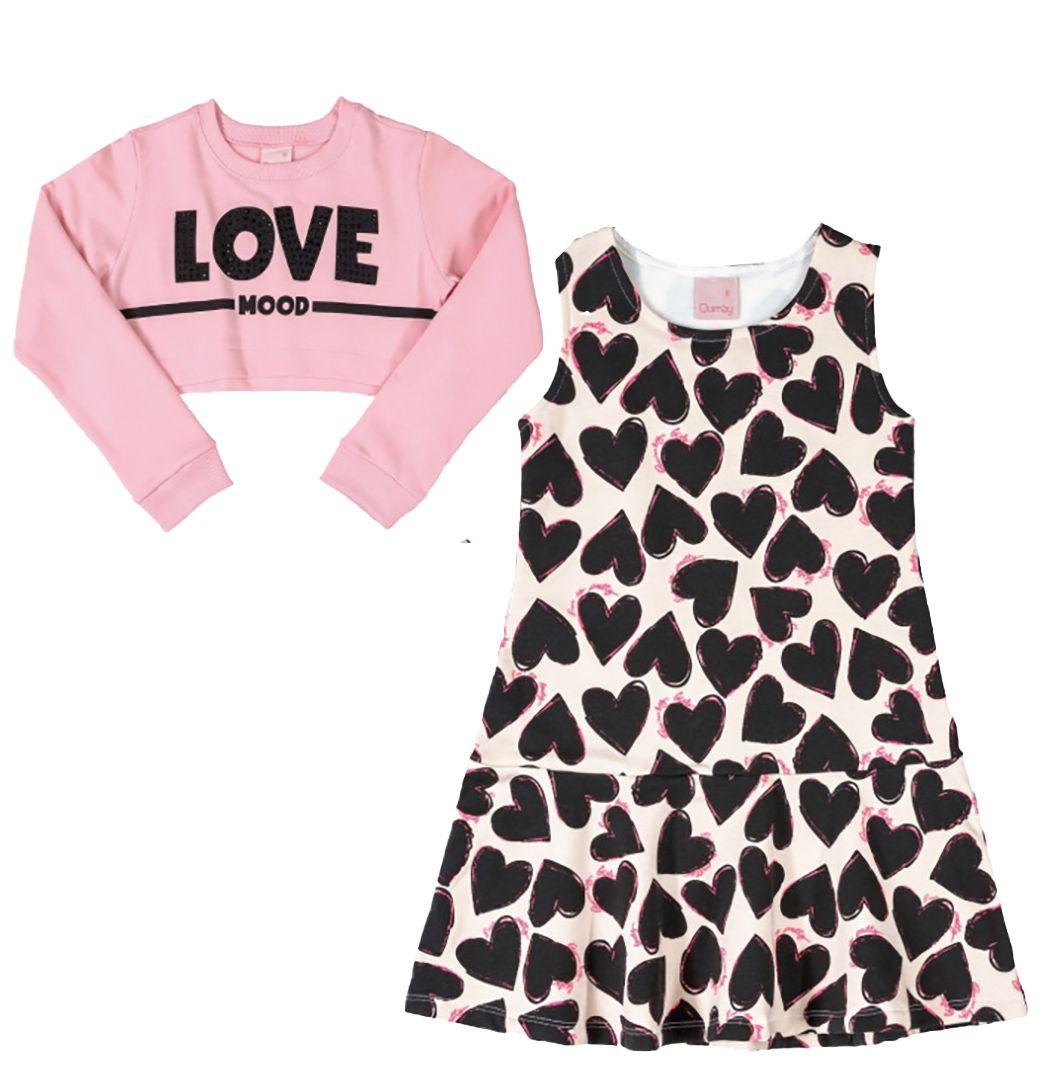Vestido e blusa Infantil sobreposta em molecoton Quimby Rosa e Preto