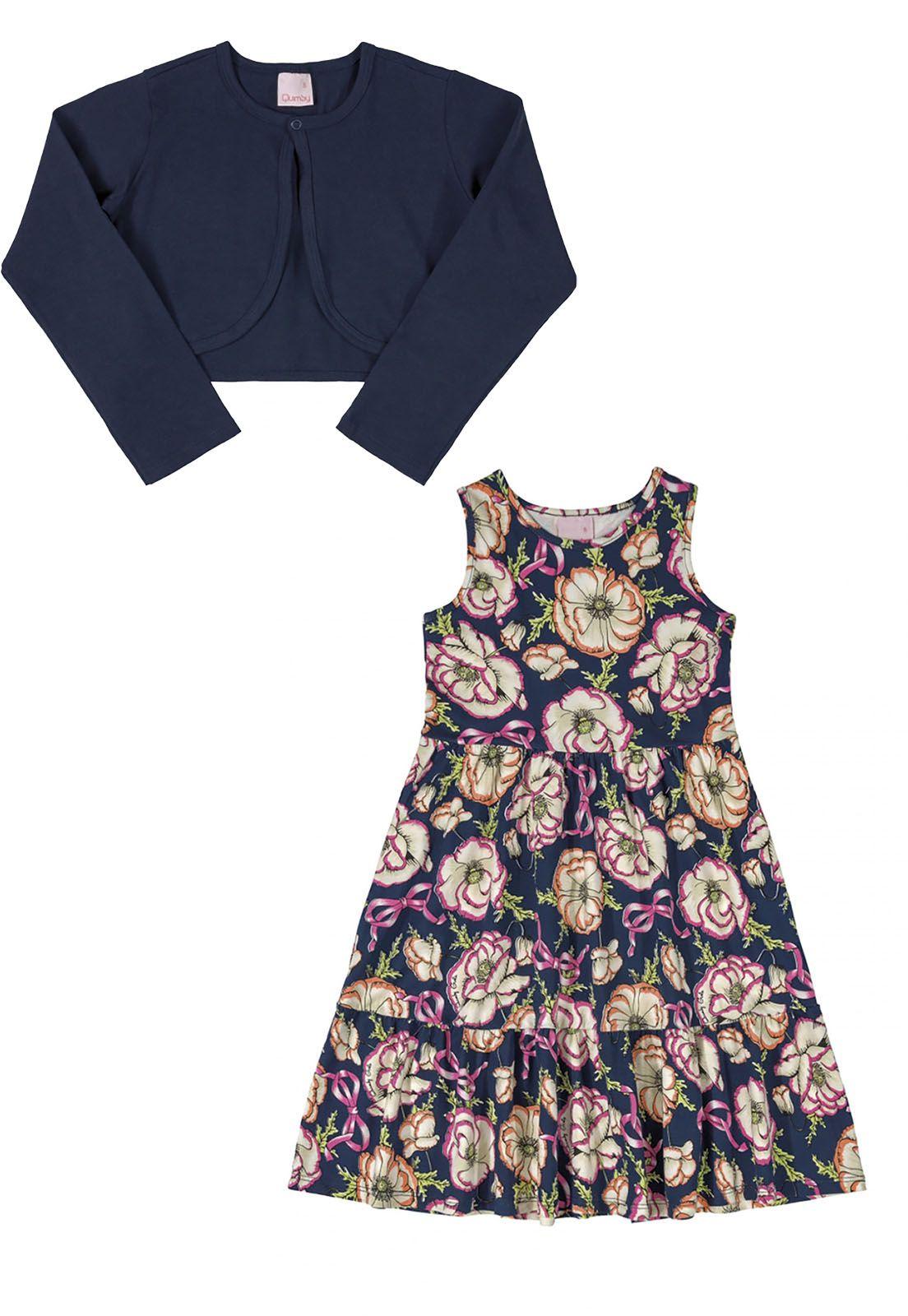 Vestido e bolero Infantil em cotton Quimby Floral e marinho