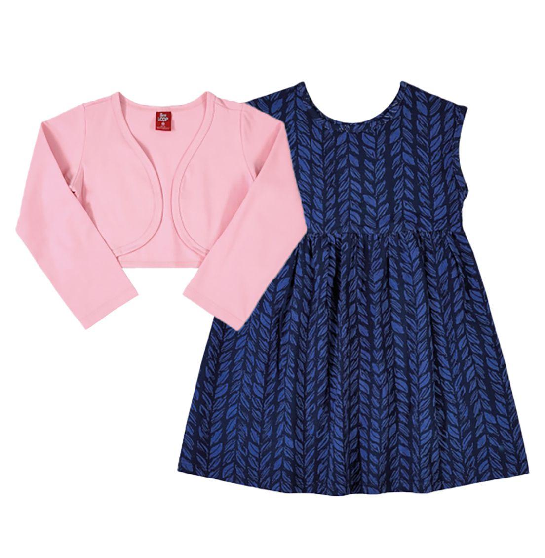 Vestido e bolero em cotton Bee Loop Lilás/Rosa