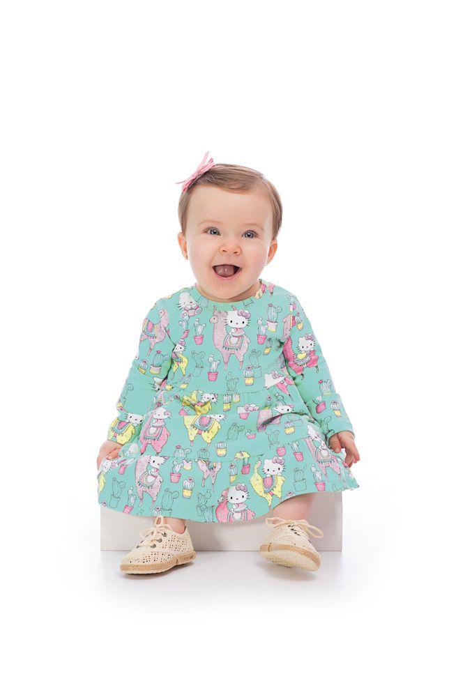 c1c2878a03 ... Vestido em Cotton Hello Kitty Baby Lhama - Sonho colorido kids ...