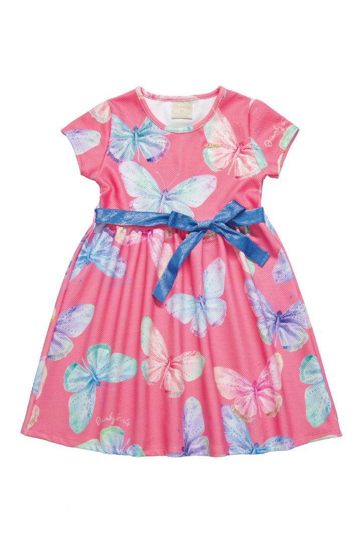 Vestido Infantil em jacquard Quimby Borboletas Rosa
