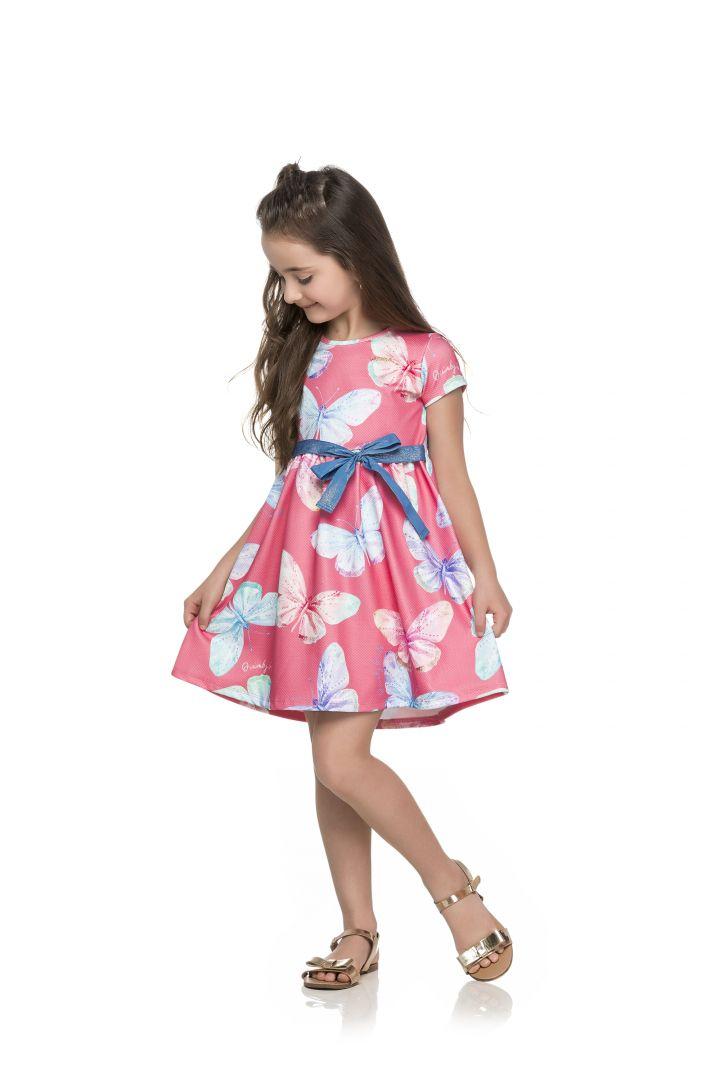 Vestido em jacquard Quimby Borboletas Rosa