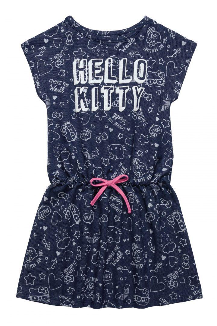 Vestido em malha jeans Hello Kitty