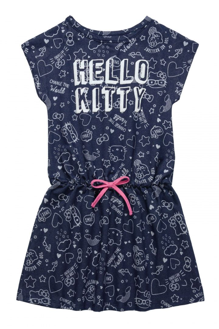 Vestido Infantil em malha jeans Hello Kitty