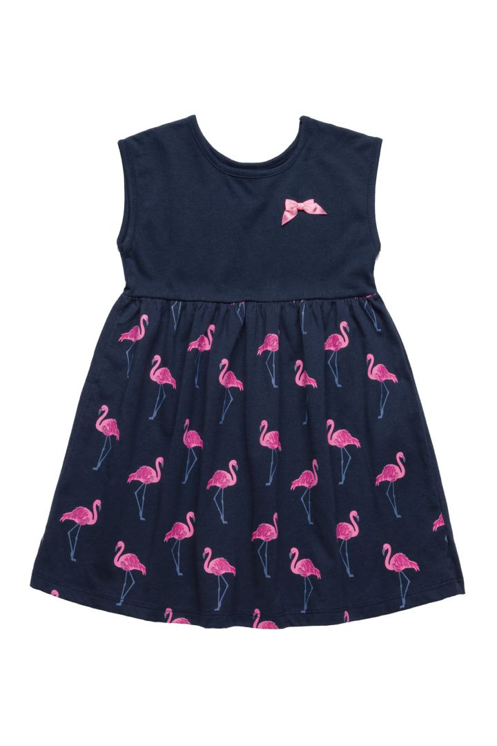 Vestido Infantil em Meia Malha Bee Loop Flamingo Marinho