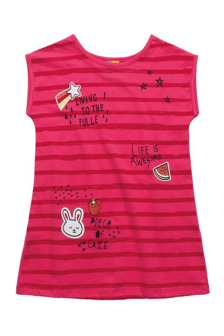 Vestido Infantil em Meia Malha Bee Loop Pink
