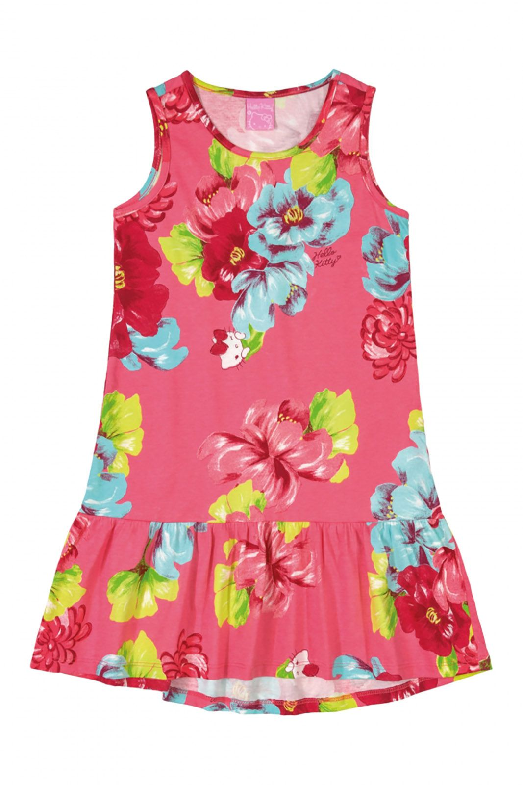 Vestido em meia malha  Hello Kitty Floral Goiaba