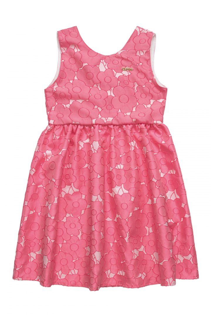Vestido Infantil em tecido jacquard acetinado Quimby Rosa