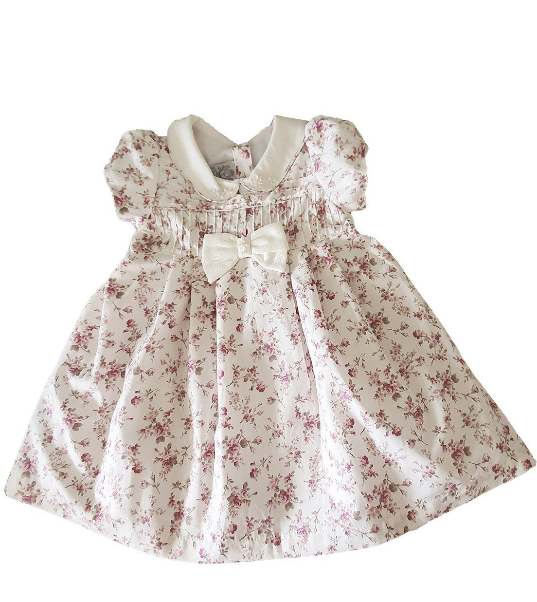 Vestido Festa Bebê em Tricoline  Póssum  floral Miudo Off White Rosa