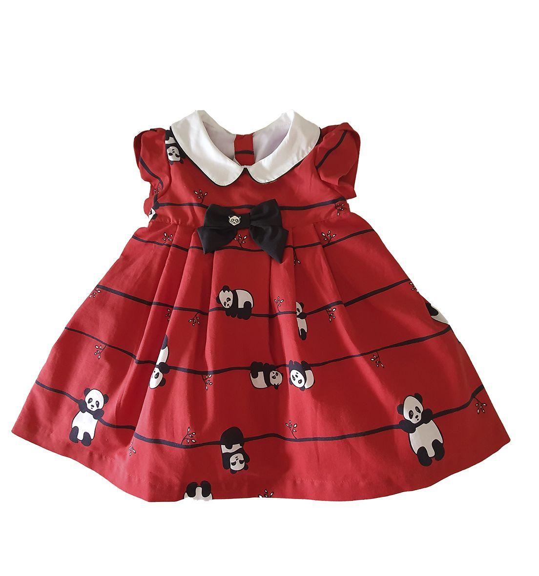 Vestido Festa Bebê em Tricoline  Póssum  Panda Vermelho