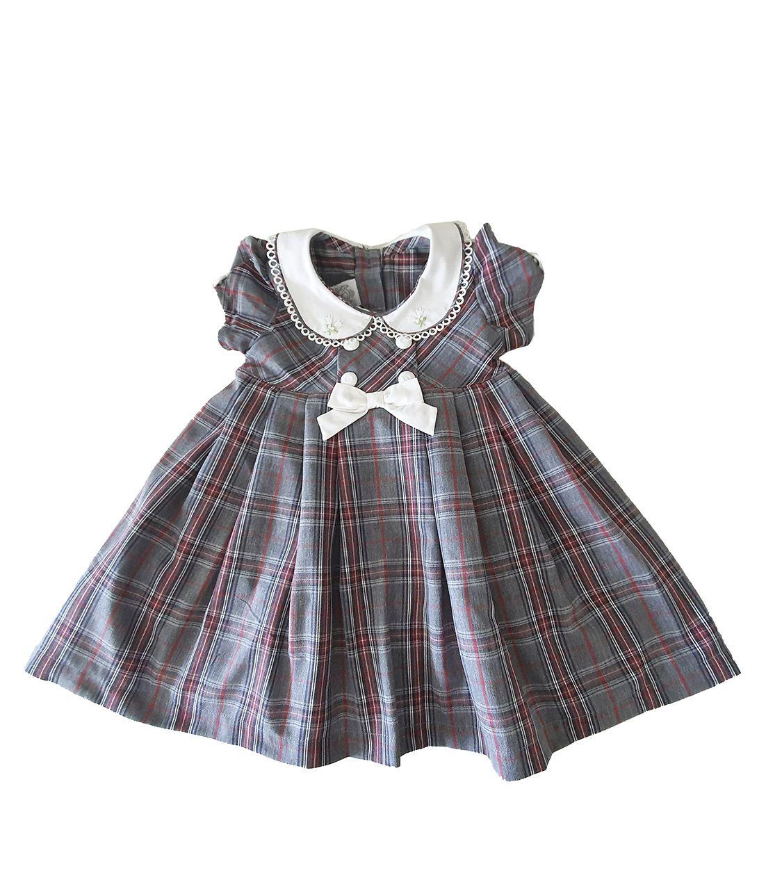Vestido Festa Bebê em Tricoline  Póssum Xadrez cinza e vermelho