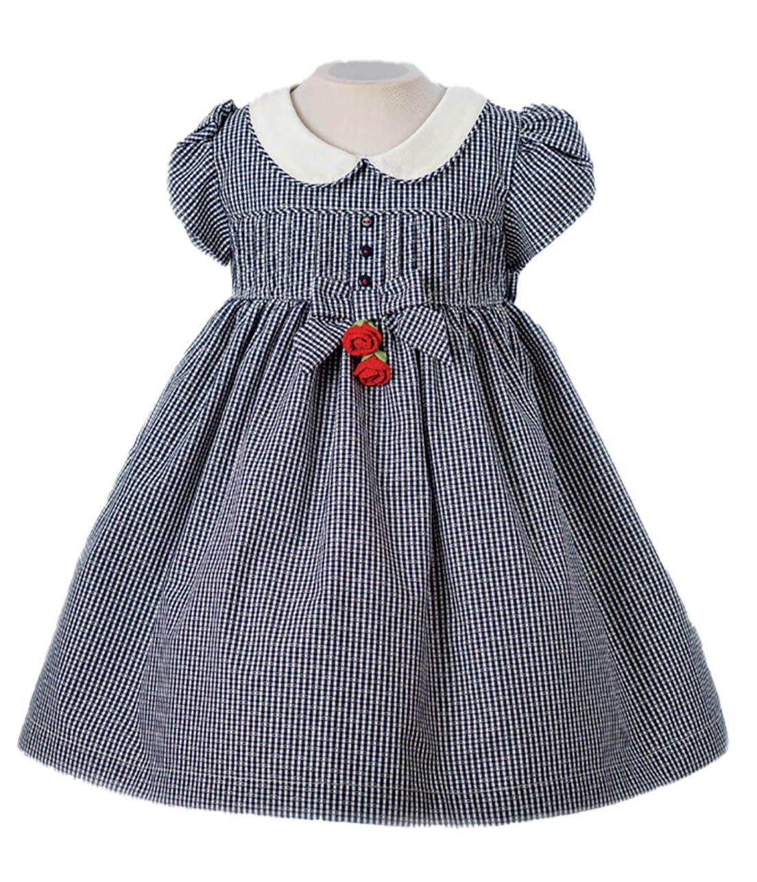 Vestido Festa Bebê em Tricoline  Póssum Xadrez  marinho e branco