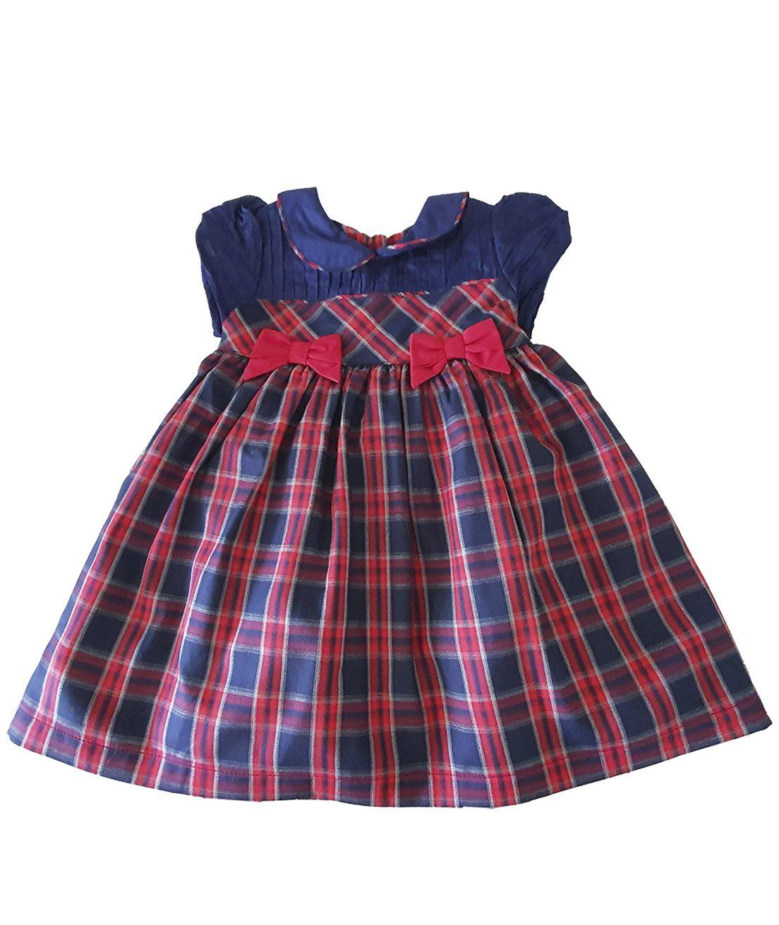 Vestido Festa Bebê em Tricoline  Póssum Xadrez  marinho e vermelho