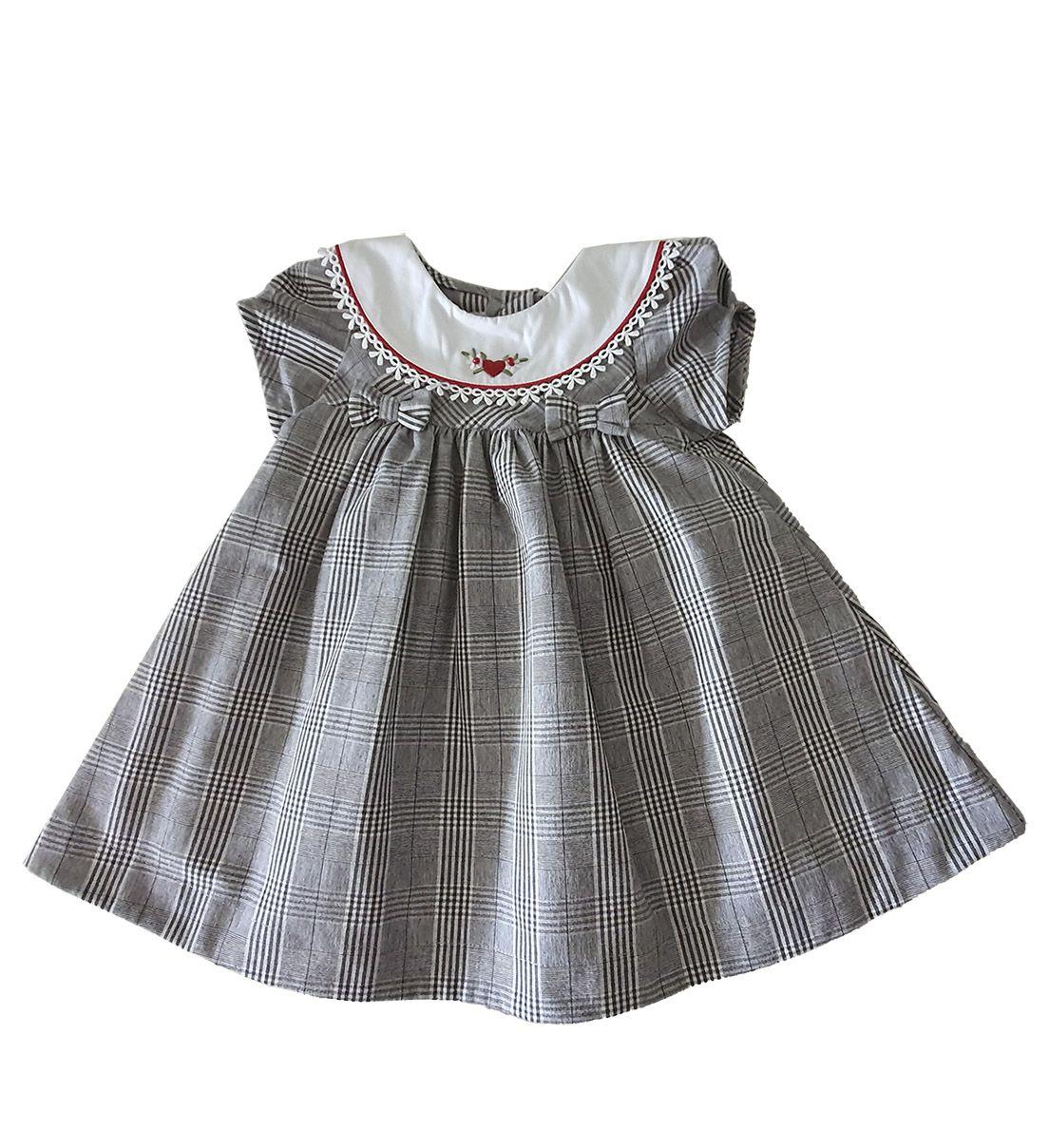 Vestido Festa Bebê em Tricoline  Póssum Xadrez Príncipe de Gales