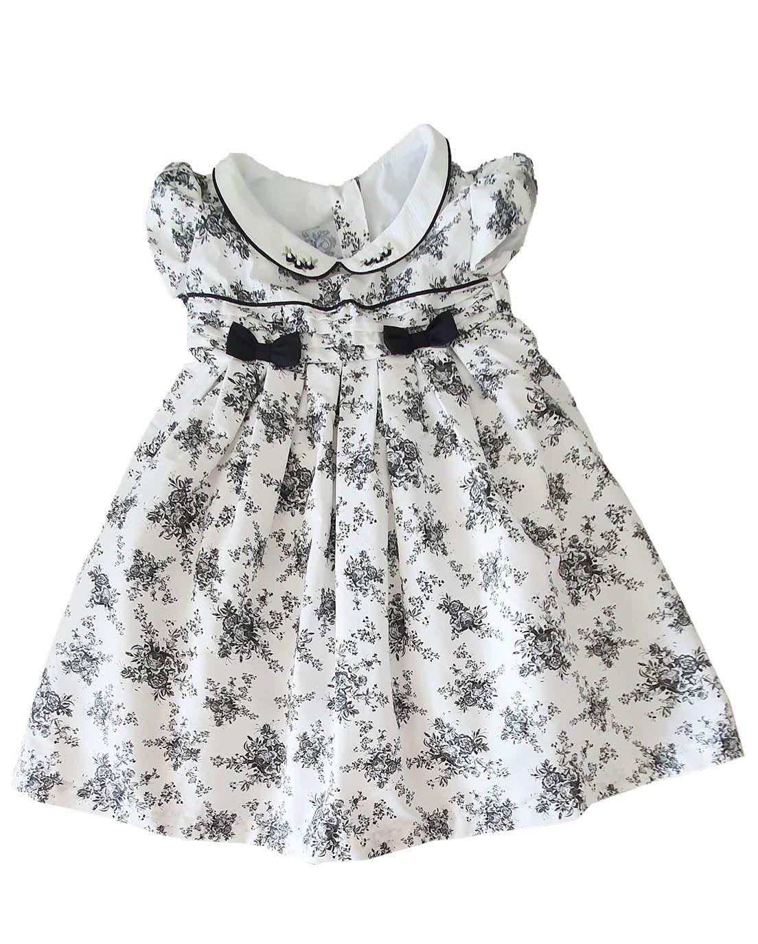 Vestido Festa  infantil em Tricoline  Póssum  Floral miúdo e preto