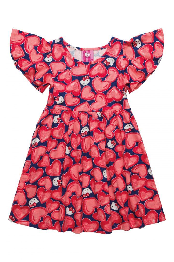 Vestido Hello Kitty Corações Vermelho