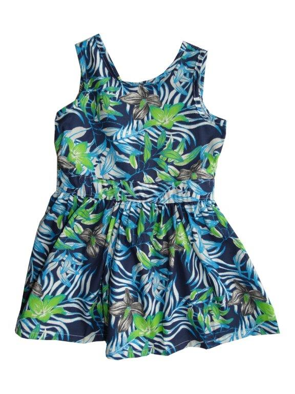 Vestido Brandili Infantil floral azul/verde  / Tamanho 1