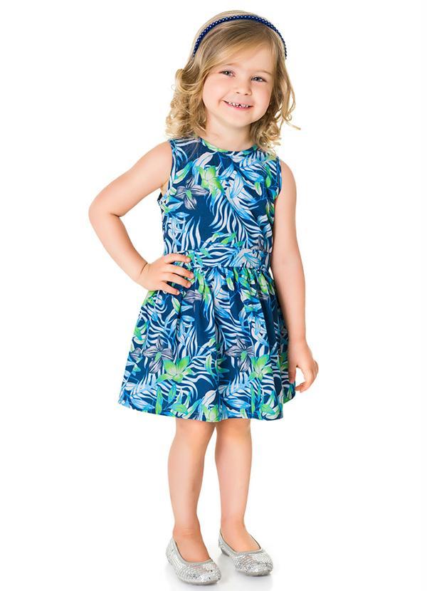 9fbd6bfe82ada ... Vestido Brandili Infantil floral azul verde   Tamanho 1 - Sonho  colorido kids ...