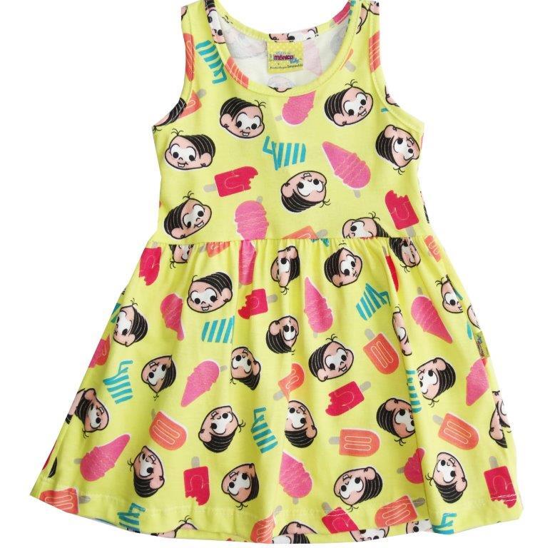 48b54aa317 Vestido Brandili Infantil Mônica Amarelo   Tamanho 1 Nome do produto