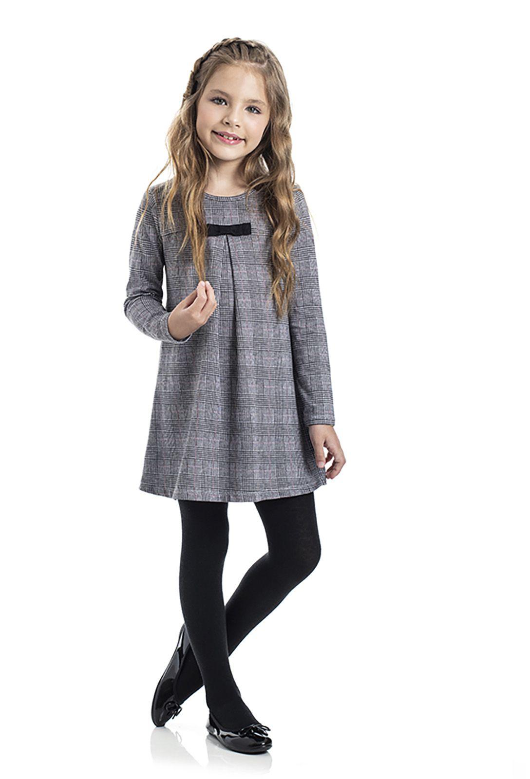 Vestido Infantil Cotton com Meia Calça TMX  Príncipe de Gales