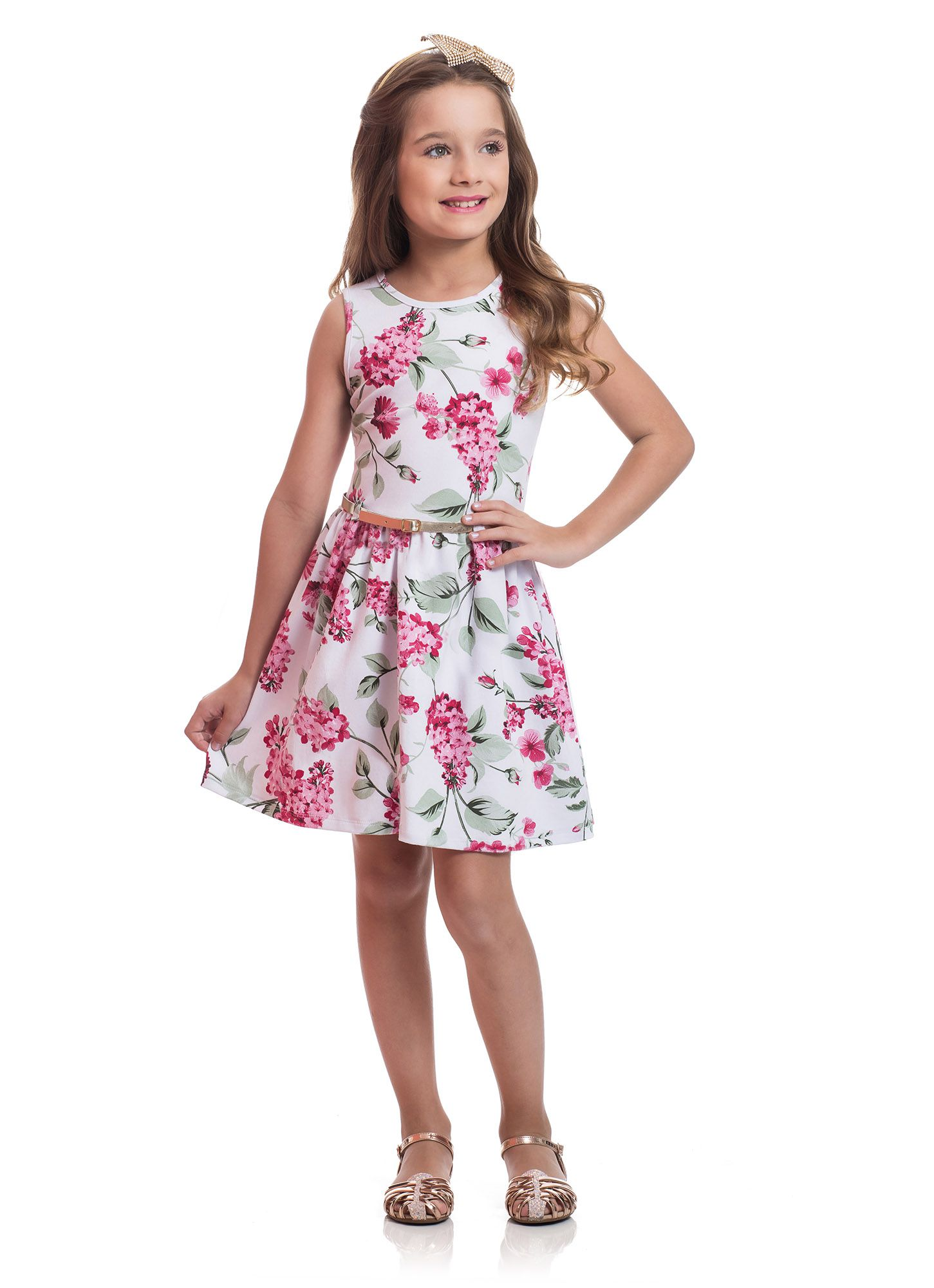 Vestido Infantil Cotton TMX  Floral Marfim / Tamanho 4