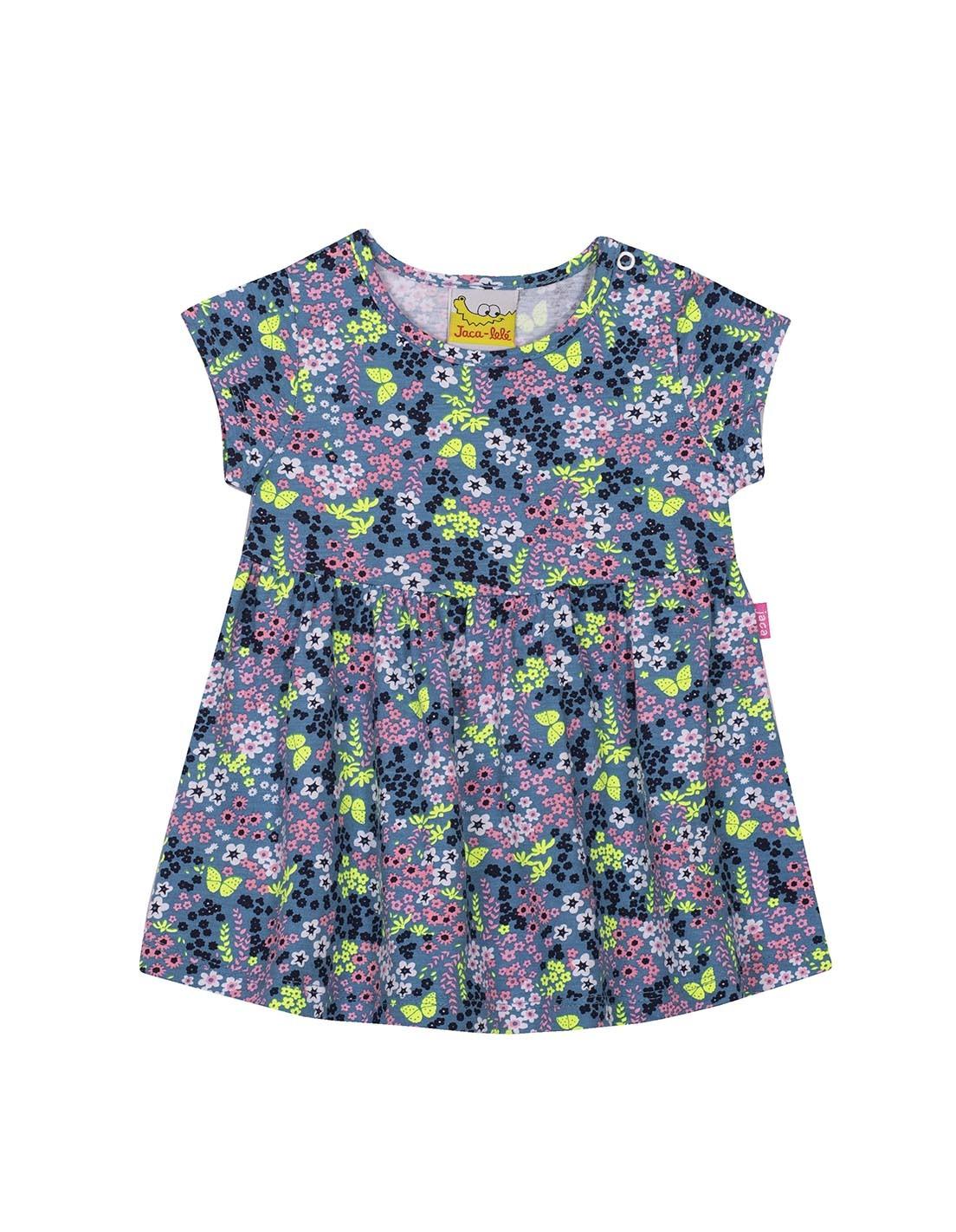 Vestido Infantil JACA-LELÉ Floral Azul