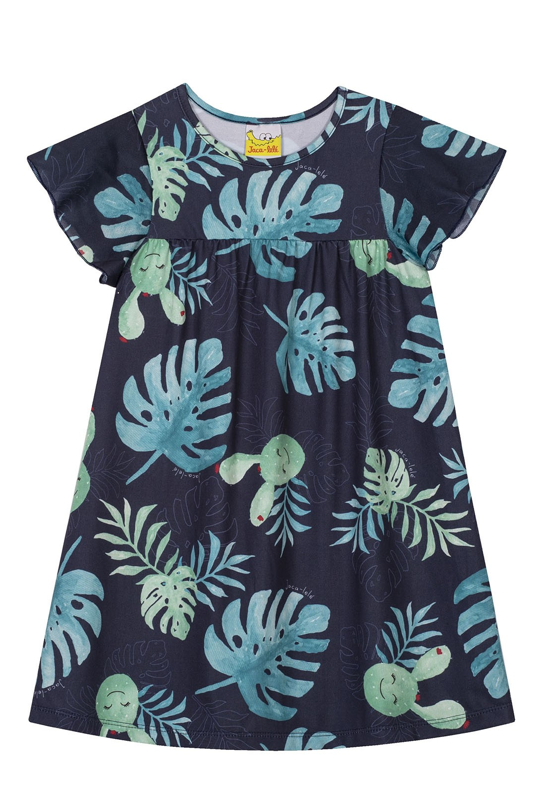 Vestido Infantil JACA-LELÉ  Folhagem Marinho