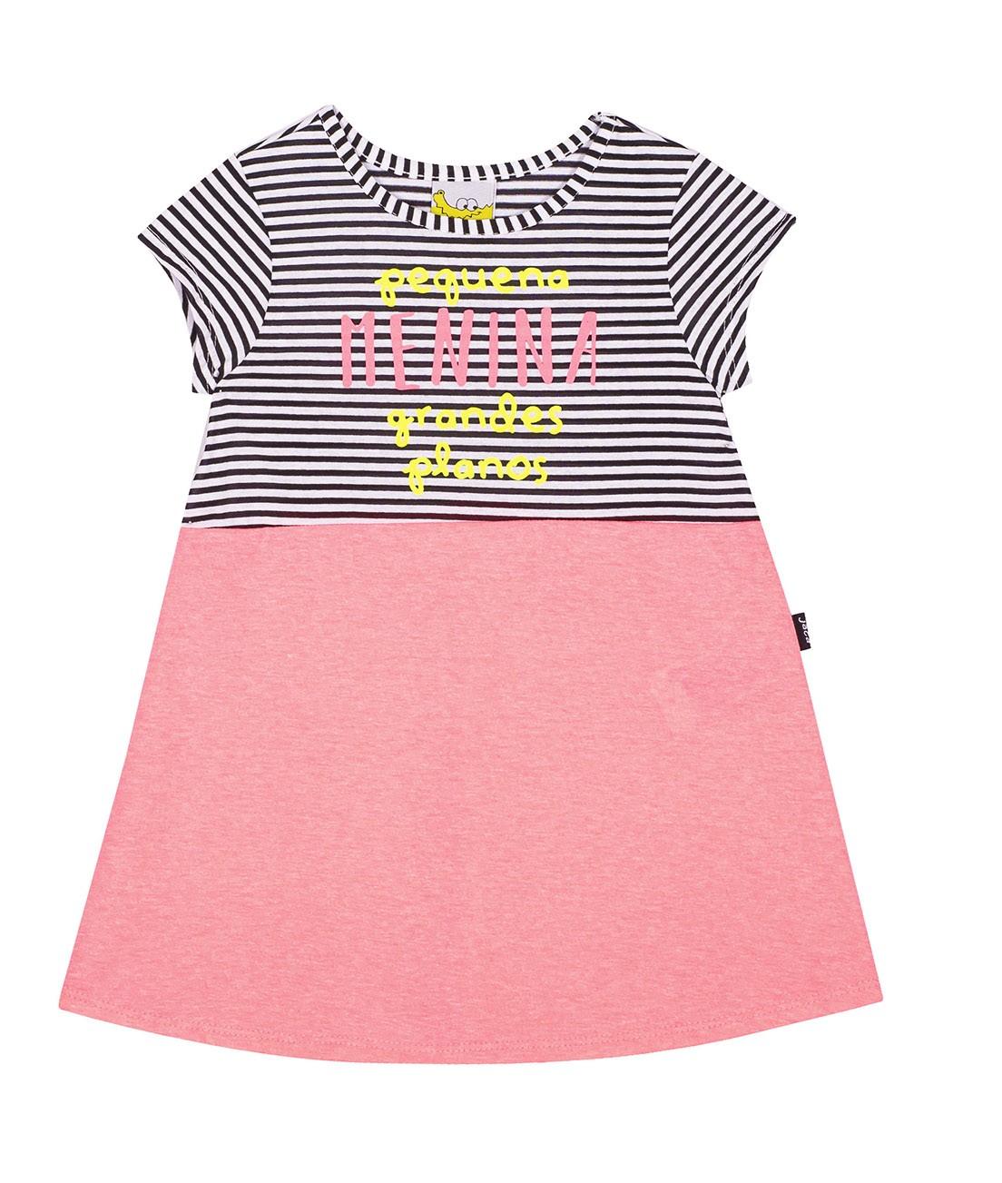 Vestido Infantil JACA-LELÉ  Listrado e Rosa Neon