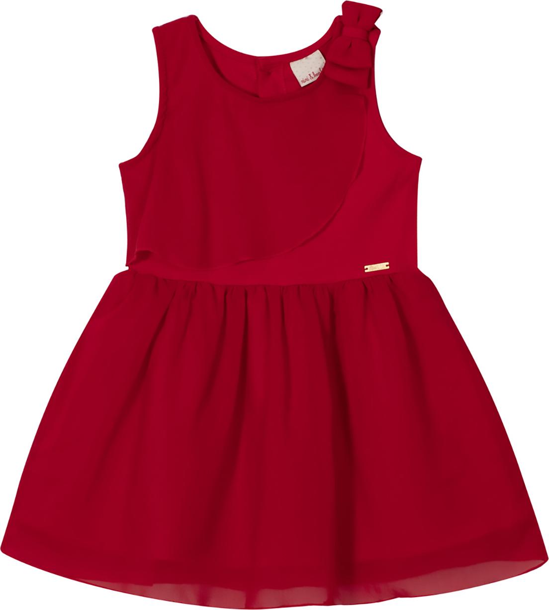 Vestido infantil Nini&Bambini em cotton e Chiffon Vermelho