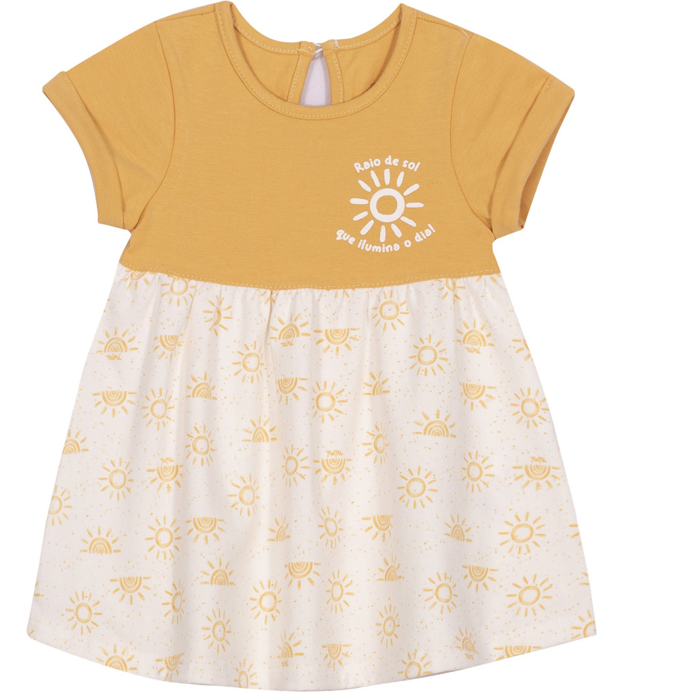 Vestido infantil Nini&Bambini em cotton Raio de Sol Mostarda