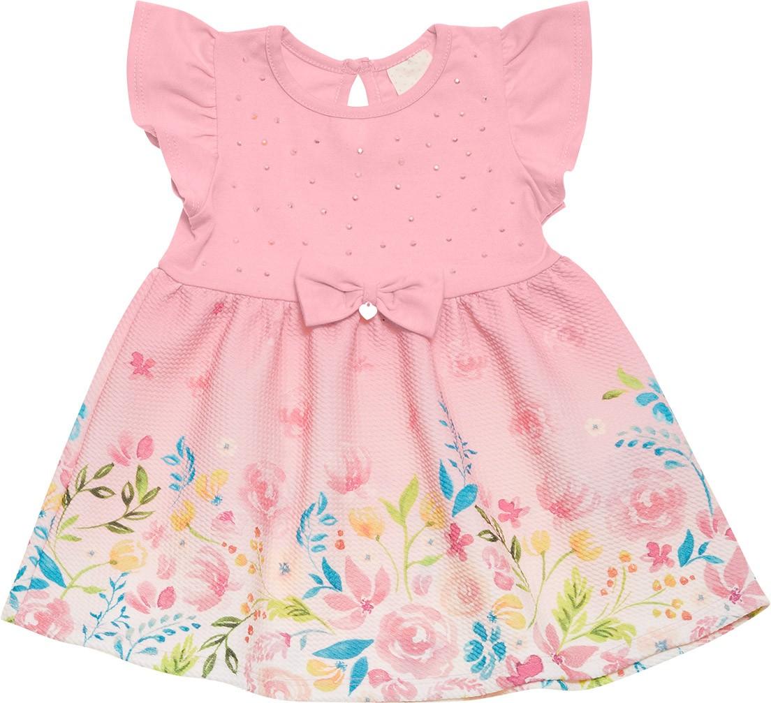 Vestido Infantil Nini&Bambini Floral Rosa