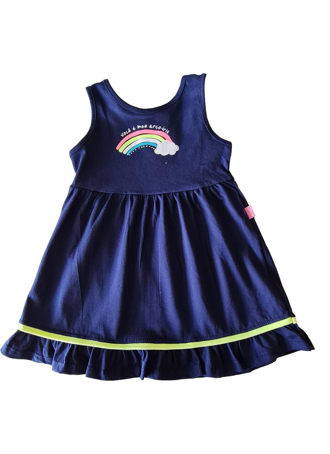 Vestido Infantil  regata JACA-LELÉ  Arco Íris Marinho