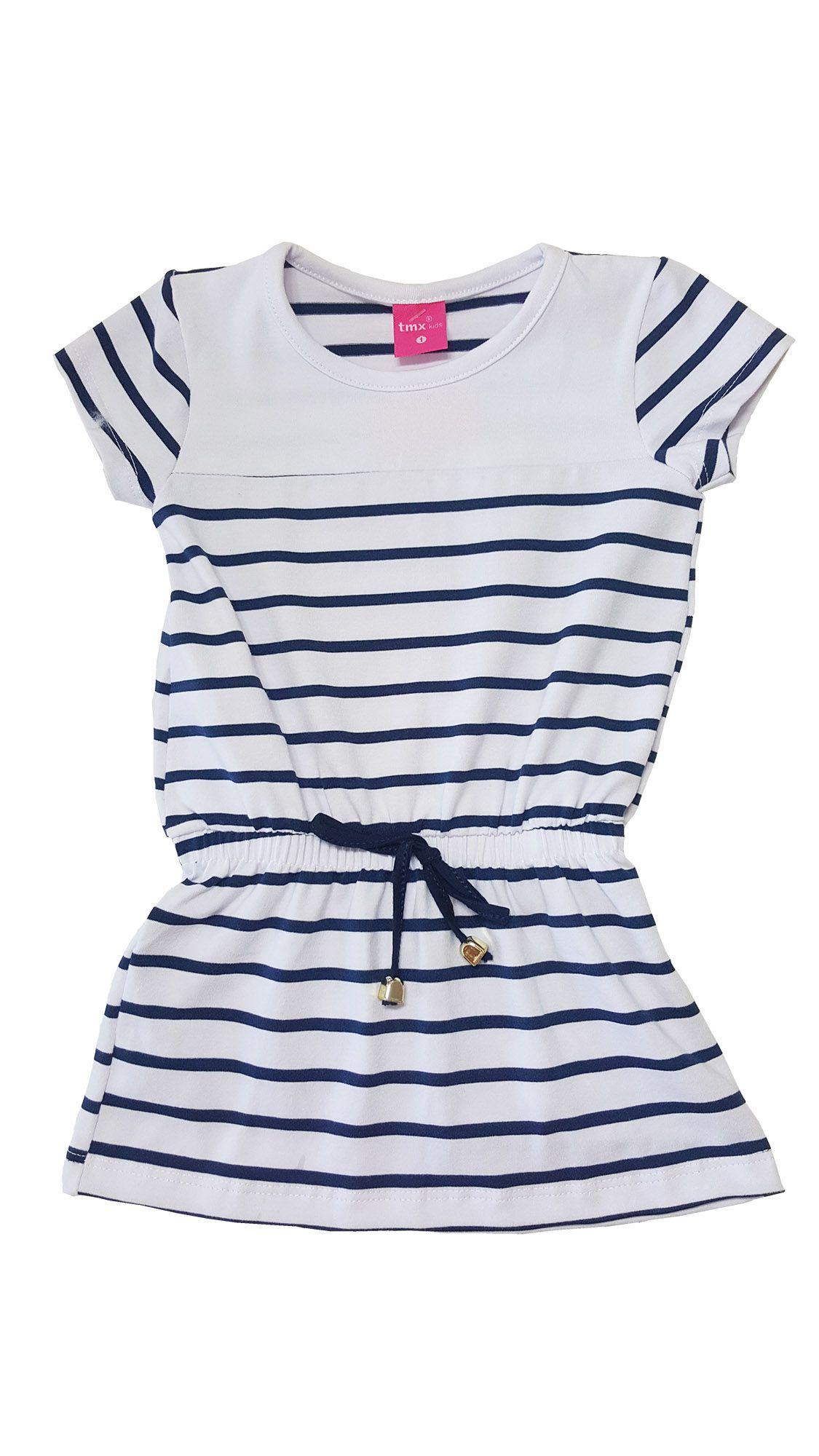 Vestido Infantil TMX  Listrado Branco / Tamanho 8
