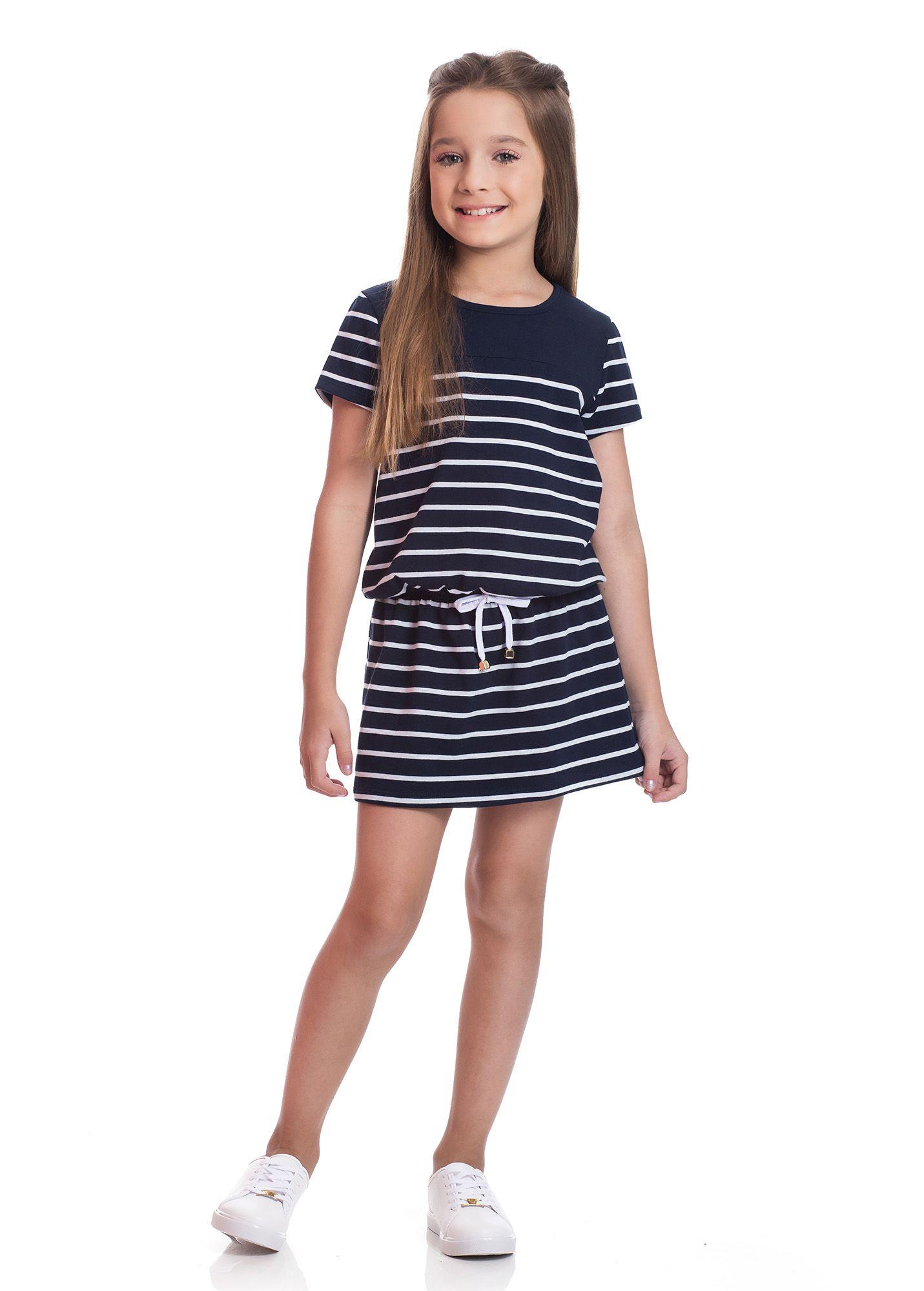 Vestido Infantil TMX  Listrado Goiaba