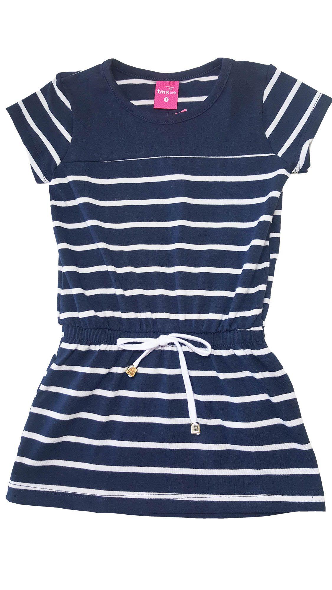 Vestido Infantil TMX  Listrado Marinho - Tamanho 4