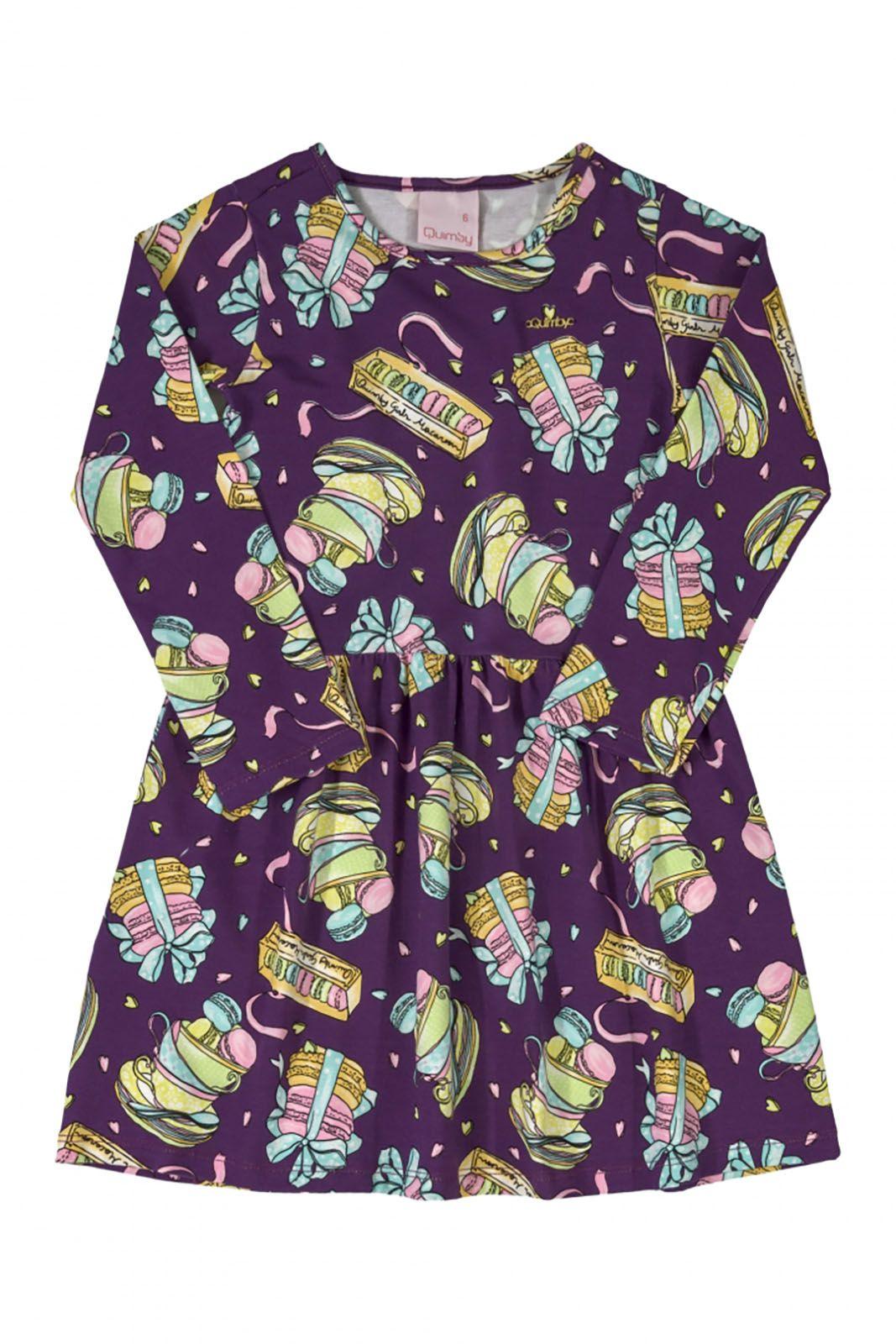 Vestido Infantil manga  longa em cotton Quimby Macarons Lilás