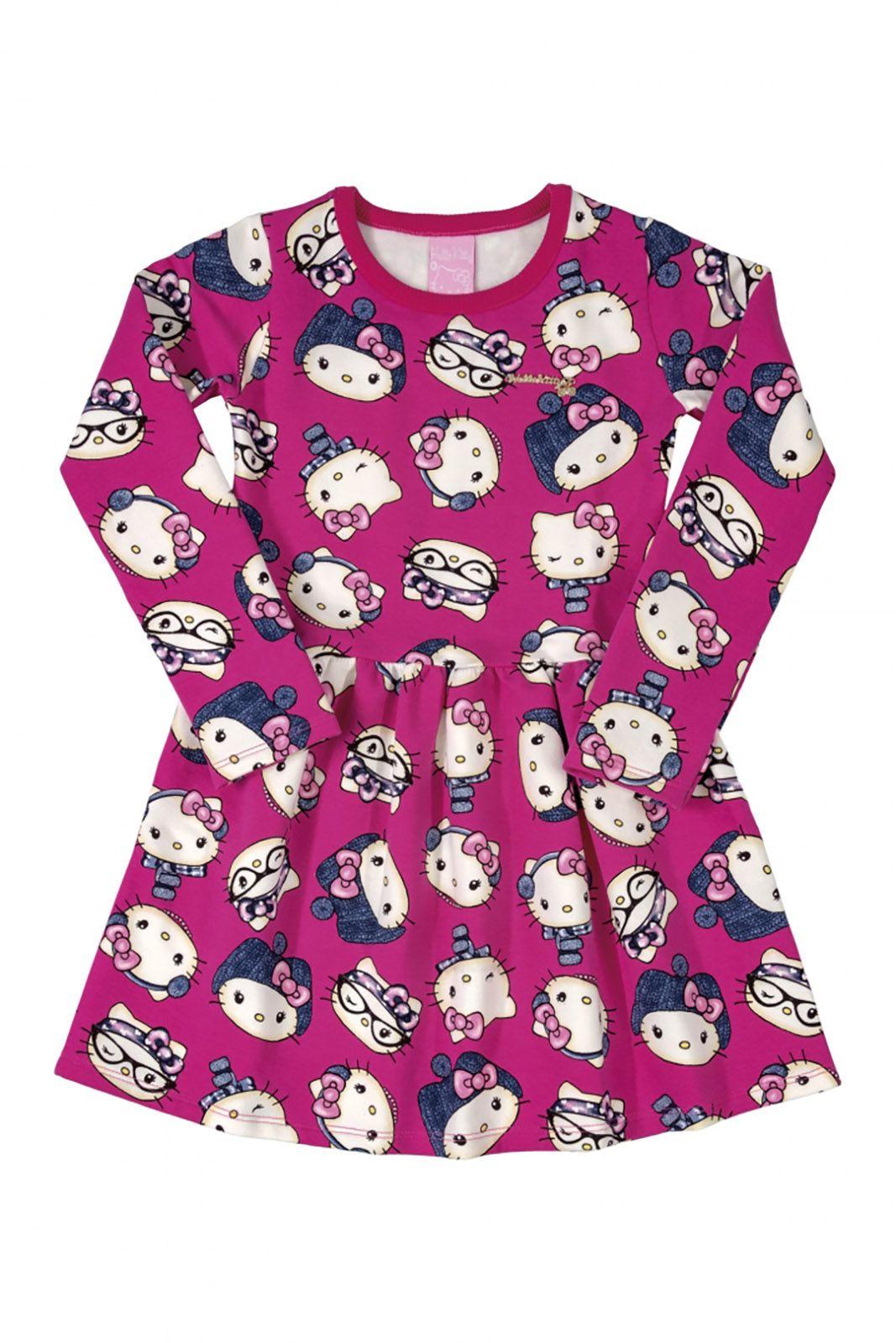Vestido manga longa em molecotton  Hello Kitty Rosa