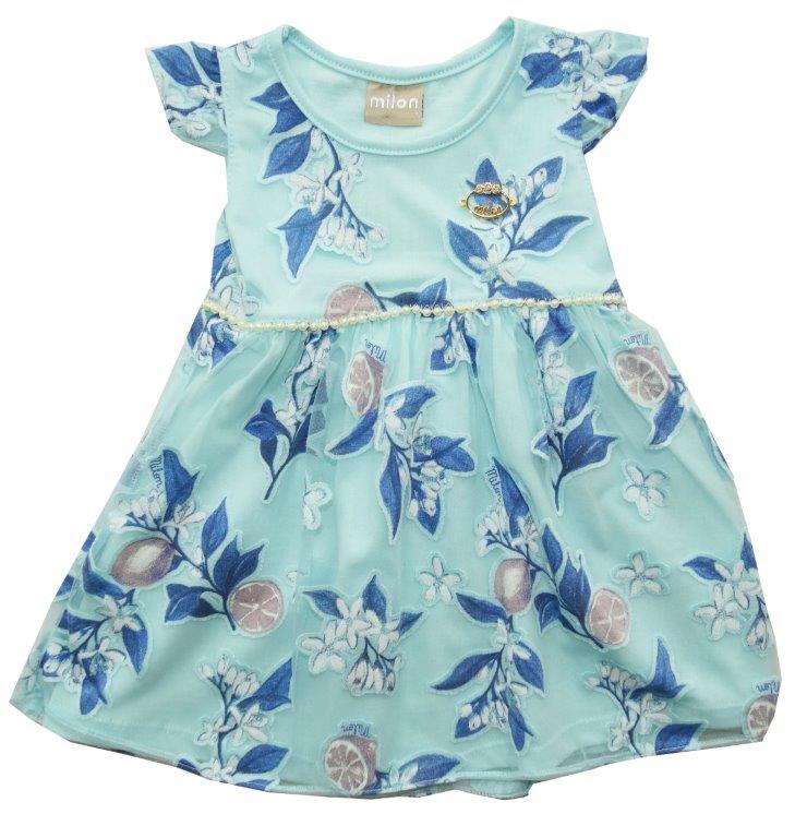 Vestido Milon bebê floral azul/tulie  / Tamanho 1