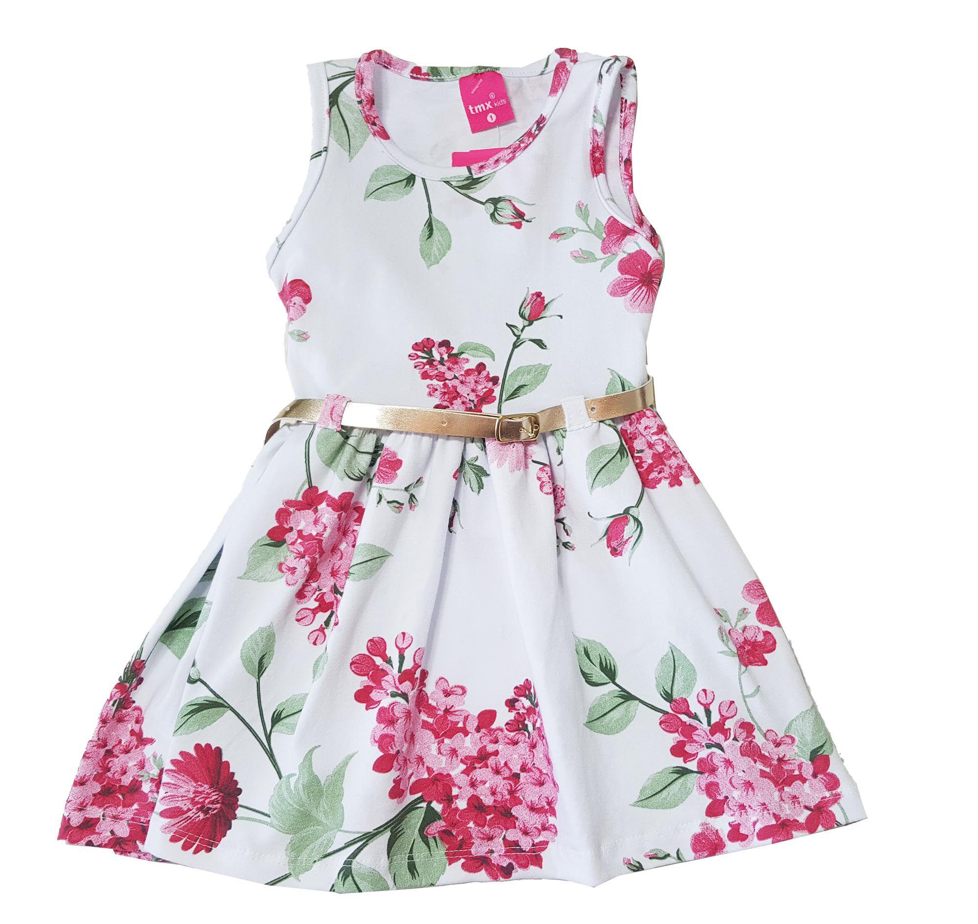 Vestido Primeiros Passos Cotton TMX  Floral Branco