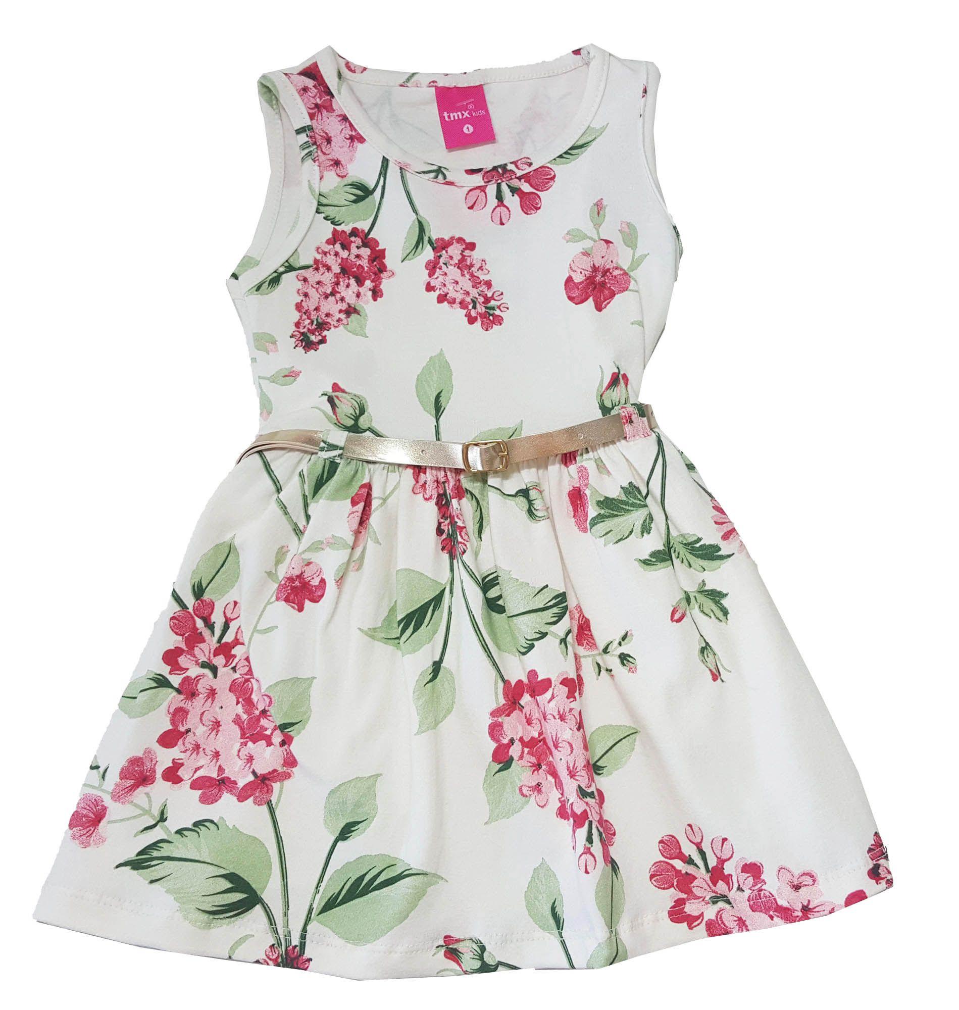 Vestido Primeiros Passos Cotton TMX  Floral Marfim /Tamanho 2