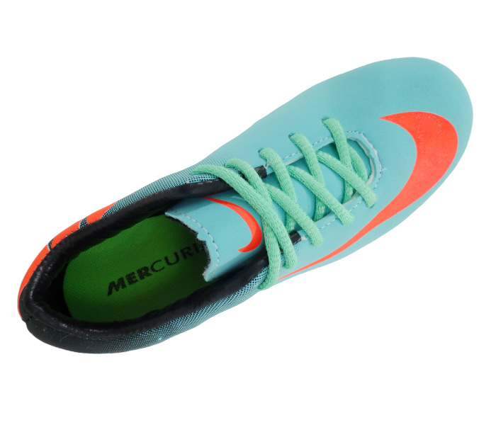Chuteira Infantil Campo Nike Mercurial Verde Água e Preto